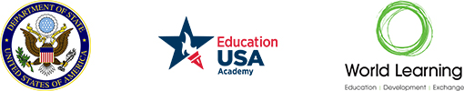 US State Department, EducationUSA, and World Learning logos